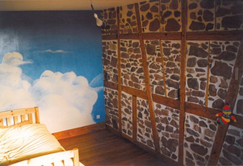 fresque_nuages_frise_decorative_enfant_dr acrylic blue sky dans frise décorative